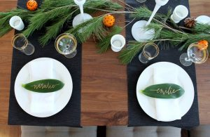 holiday table decor tip 2: garland table runner