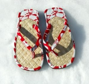 sandals in snow