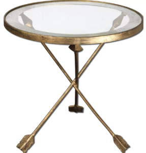 glass topped arrow accent table